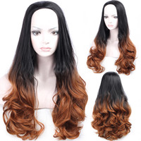 Wholesale red ombre lace front wig resale online - Ombre wet and wavy wig Rose Red j Gray Blue Purple curly Wig Natural Curly Hair Wigs Natural Hairline Synthetic Lace Front Wig