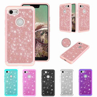 Wholesale pink google resale online - Luxury Glitter Skinned Two In One Mobile Phone Shell Google Pixel Anti Drop TPU Set For Iphone XR