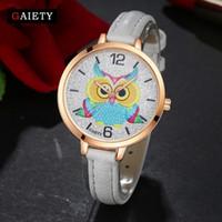 baykuş yuvarlak saat toptan satış-Gaiety Yeni Marka Saatler Kadınlar Moda Baykuş Dostluk Deri Kayış Yuvarlak Kadınlar Için Rahat Analog Spor Kızlar İzle G304