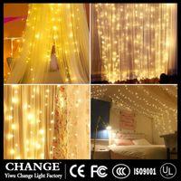 rideaux orange clair achat en gros de-Nouvelle étoile lumières réseau fille rouge coeur disposition de la salle rideau lumières LED chaîne de fil de cuivre USB télécommande lumières