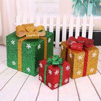 weihnachtsgeschenk geschenkboxen großhandel-2020 Frohe Weihnachten Eve Gillter Geschenkkarton Große Weihnachtsgeschenk Wrapping Schachteln Red Ribbon Lids US