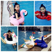 Wholesale ring open toy online - Open Fork Floats Kids Flamingo Float Swimming Ring Baby Life Buoy Crab Unicorn Floating Ring Flamingo Pools Outdoor Play CCA11536
