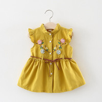 Wholesale baby clothing 18 24 months resale online - Toddler Baby Girls Infant Kid Summer Clothing Newborn Sleeveless Dress Embroidery Month White Yellow Year J190619