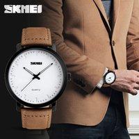 kahverengi saat kayışları toptan satış-SKMEI Marka Yeni Moda Kahverengi Deri Kayış Saatler Erkekler Kuvars İzle Su Geçirmez Erkekler Saatı