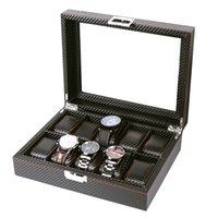 porta-relógio venda por atacado-Caixa de relógio 10 Grids Relógio de pulso Box Titular Pu couro Relógios Display Case Retângulo Jóias Caixas de armazenamento