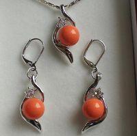 laranja pérola jóias conjuntos venda por atacado-Casamento das mulheres reais jogo perfeito belo conjunto de jóias 10mm orange shell pearl pendant prata-jóias