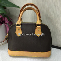 Wholesale leather handbags free shipping resale online - Woman Bag Handbag Women shell bags shoulder purse leather