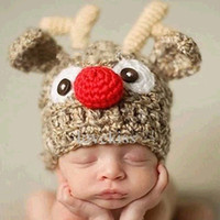 Wholesale white crochet hats resale online - Newborn Baby Knitted Hats Infant Baby Thanksgiving Turkey Hat Kids Designer Hats Caps Infant Baby Christmas Antler Keep Warm Winter Hats
