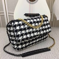 Wholesale google 3g tablets for sale - Group buy Winter designer handbag slant span bag luxury chain bag top wool purse rhombic V grid single shoulder bag