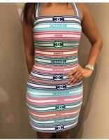 ingrosso gonna a cinghia-2019 Summer Condole cintura senza maniche Stampa T-Shirt E per donna Moda stampa e minigonne Set 2 pezzi 022303