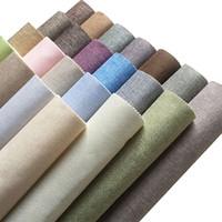düz yatak odası duvar kağıdı toptan satış-Keten Düz Renk Dikişsiz Duvar Kağıdı Yenilemek Oturma Odası Yatak Odası Otel Wallcloth Nem Geçirmez Su Geçirmez Basit Yeni Duvar Kağıtları 18lnD1