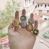 kristal hediyelik eşyalar toptan satış-2019 toptan 6 adet St. Louis Cardinals Dünya Beyzbol Şampiyonası Yüzük Hatıra Erkekler Fan Hediye Damla Nakliye