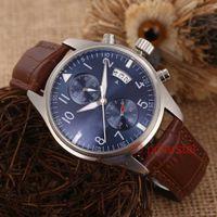 многофункциональный наручные часы оптовых-Лучшие роскошные мужские часы Автоматические механические серии Pilot Многофункциональные часы наручные часы из кожи Montre de Luxe