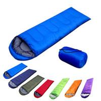 Wholesale ultralight sleeping bags resale online - Envelope type outdoor camping sleeping bag Portable Ultralight waterproof travel by walking Cotton sleeping bag With cap LJJZ331