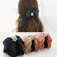 tissu en griffe achat en gros de-Coréen doux tissu strass arc cheveux Claw femmes élégantes solides en tissu cravate Clips crabe cheveux queue de cheval Tenez fille Accessoires