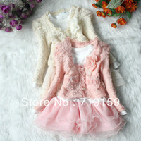 Wholesale period clothing online - New hot new Spring and Autumn Period the Korean kid baby girls lace suit dress clothing sets princess dress