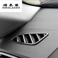 Wholesale interior auto trim panels resale online - Car Styling Carbon fiber AC Front row air Outlet Trim Frame Decoration panel Sticker Cover For Q3 Interior Auto Accessories