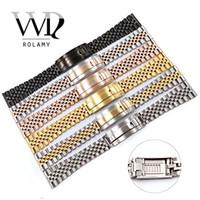 verriegelnder handgelenkstahl großhandel-Rolamy 20 22mm Uhrenarmband-Bügel für Handgelenk-Armband-Edelstahl-Glide Lock-Ersatzband