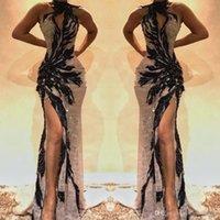 frente de renda de cristal venda por atacado-2019 Dividir Side High Lace Mermaid Prom Vestidos Keyhole pescoço de cristal frisado Backless vestidos de noite oco Out Front Celebrity Dress BC0493