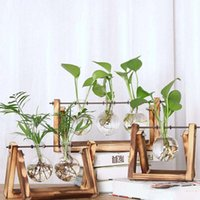 ingrosso i vasi domestici liberano il trasporto-Nuovo vaso di vetro idroponico di vetro trasparente con cornice in legno per Home Desktop Decor Spedizione gratuita