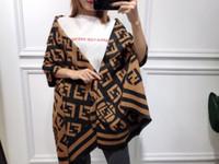 tejer bufanda de cachemira de las mujeres al por mayor-Otoño invierno manta bufanda mujeres Pashmina bufanda de cachemira de doble cara cartas bufandas de tela escocesa de punto mantón largo caliente envuelve calidad superior