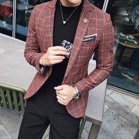 erkek kat stili korece toptan satış-2018 sonbahar ve kış, yeni İngiliz küçük takım elbise, erkek korean baskı, vücut onarım, batı tarzı ceket, erkek moda trendi