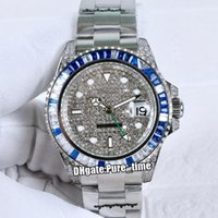 diamant blaue farbe groihandel-Neue 40mm Meister GMT II 116.759 sa-78209 Automatische Herrenuhr Gypsophila Dial Blue Diamond Bezel SS Stahl Armband-Uhren Pure_Time 5 Farbe