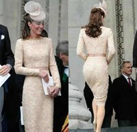 Wholesale knee length lace kate dress resale online - Kate Middleton Long Sleeves Evening Dresses Champagne Knee Length Celebrity Holiday Wear Formal Party Prom Gowns Plus Size