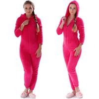 pyjamas chauds pour femmes achat en gros de-Femmes Onesies Hiver Chaud Pyjamas Fluffy Polaire Vêtements De Nuit Ensemble De Capot Ensembles Pyjamas Onesie Homewear pour Femmes Adulte Plus La Taille
