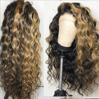 Wholesale highlight hair resale online - 13x6 Lace Front Human Hair Wigs Peruvian Lace frontal wigs Pre Plucked With Baby Hair loose wave Highlights Honey Blonde full lace
