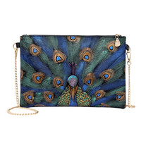ingrosso borse da sera stampa animale-La nuova borsa di cuoio delle stampe del peacock animale delle donne dell'annata del 2018 firma per le borse di sera delle signore del sacchetto del messaggero delle donne