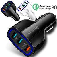 ingrosso casella 35w-QC 3.0 Caricabatteria da auto 7A 35W 3 USB caricabatterie porte adattatore per auto per iPhone iPad 7 8 x samsung gps pc telefono android con la scatola al minuto