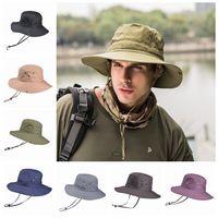 chapéu dobrável da borda venda por atacado-Homens chapéu de balde dobrável senhora praia chapéus pescador chapéu de aba larga chapéus de pesca ao ar livre caminhadas caça chapéus de sol alpino chapéu unisex cap zza887