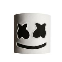 masque de matériau achat en gros de-Fête EL Halloween Guimauve Dj Couvre-chef Marshmello Couvre-chef Masque Matériau Latex Casque complet Masque Bar Musique Props De fête Masque