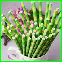 kabarcık kanadı toptan satış-Çevre Dostu Bambu Kağıt Payet İçme Tek Kullanımlık Kabarcık Kahve Çay Bar Doğum Günü Düğün Bambu Parti Straw Için Kağıt Payet İçme