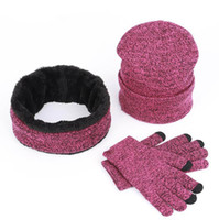 set winter schals hut großhandel-Strickmütze Schal Handschuh Set Winter Stricken Unisex Verdicken Plus Samt Schal Kappen Set Mit Logo 3 teile / satz LJJO7122