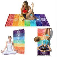 mandala wandteppich groihandel-Regenbogen Chakra Tapisserie Handtuch Teppich Mandala Boho Reise Yoga-Matte Outdoor-Matten 150x70 cm 100x45 cm Strandmatte KKA6819