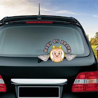 neue niedliche autoabziehbilder großhandel-Neues Baby an Bord Nette Waving Wiper Decals PVC Heckscheibenwischer Aufkleber Car Styling Auto Aufkleber und Abziehbilder für Auto-Produkte