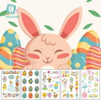 Wholesale temporary indian tattoos for sale - Eggs bunny easter sticker Waterproof temporary fake tattoo stickers easter holidays kids child body art sticker make up tools