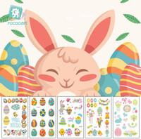 faire le lapin de pâques achat en gros de-Oeufs lapin autocollant de Pâques Étanche temporaire faux autocollants de tatouage de Pâques vacances enfants enfant art du corps autocollant constituent des outils
