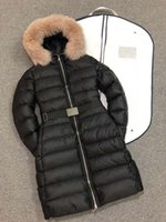 Wholesale black real fox fur coat resale online - Women Winter Jacket Ladies Real Fox Fur Collar Duck Down Inside Warm Coat Femme Long Coat