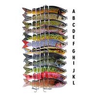 лазерный луч формы тела оптовых-Реалистичная многослойная 3D Fish Six сегментное тело Fishing Lure 12см 18.5г S-образный плавательный Lipless Laser Musky Bait Hooks