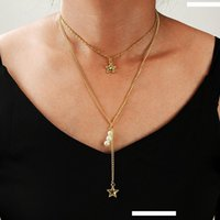 Wholesale pearl pendant neck resale online - Women Fashion Chokers Necklace New Charm Elegant Pearl Star Multi layer Pendant Necklaces Bohemian Collar Neck Chain Boho Jewelry Gift