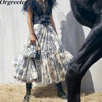 nuevos diseños de faldas al por mayor-Runway Design Long Maxi Womens 2019 Verano Nueva Tinta Totem Bosque Animales Imprimir Volantes Faldas plisadas Jupe Femme J190619