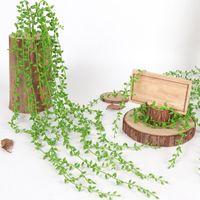 ingrosso viti artificiali verdi appesi fiore-5 Forks 82 centimetri verde artificiale piantare viti Wall Hanging pianta falsa Simulazione decorativa Piante Orchidea falsificazione fiore Rattan Camera