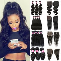 Wholesale dark burgundy weave hair for sale - Group buy Brazilian Body Wave Straight Deep Wave Loose Wave Hair Bundles With x4 Lace Closure Brazilian Virgin Hair Closure With Human Hair Bundles