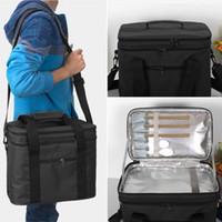 sacs de refroidissement isolés achat en gros de-Pique-nique Cooler Lunch Bags Pliable Aluminium Thermique Aluminium Grand Ice Pack Box Sac Isolé Voiture Plage Barbecues Camping Sacs À Lunch