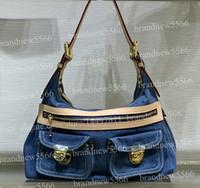 Wholesale denim ladies bags online - 2019 Hot Design Women s Jeans Denim Hobos Shoulder Bag Genuine Calfskin Leather Handbag Lady Crossbody Bags cm with adjustable belt