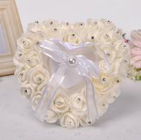 almofada de casamento em forma de coração venda por atacado-Anel de Casamento Travesseiro com Caixa de Coração Floral Heart Forma Coxim Casamento Criativo Decoração Romântico Caixas de Jóias