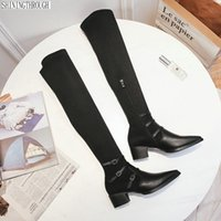 толстые каблуки оптовых- Women Over The Knee High Boots Thick low Heels Autumn Winter Long Motorcycle Boots Prom Shoes Woman Tight High
